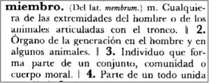 """Lema """"miembro"""" en DRAE 1992"""
